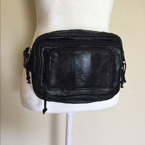 Large Vintage Black Leather Fanny Pack